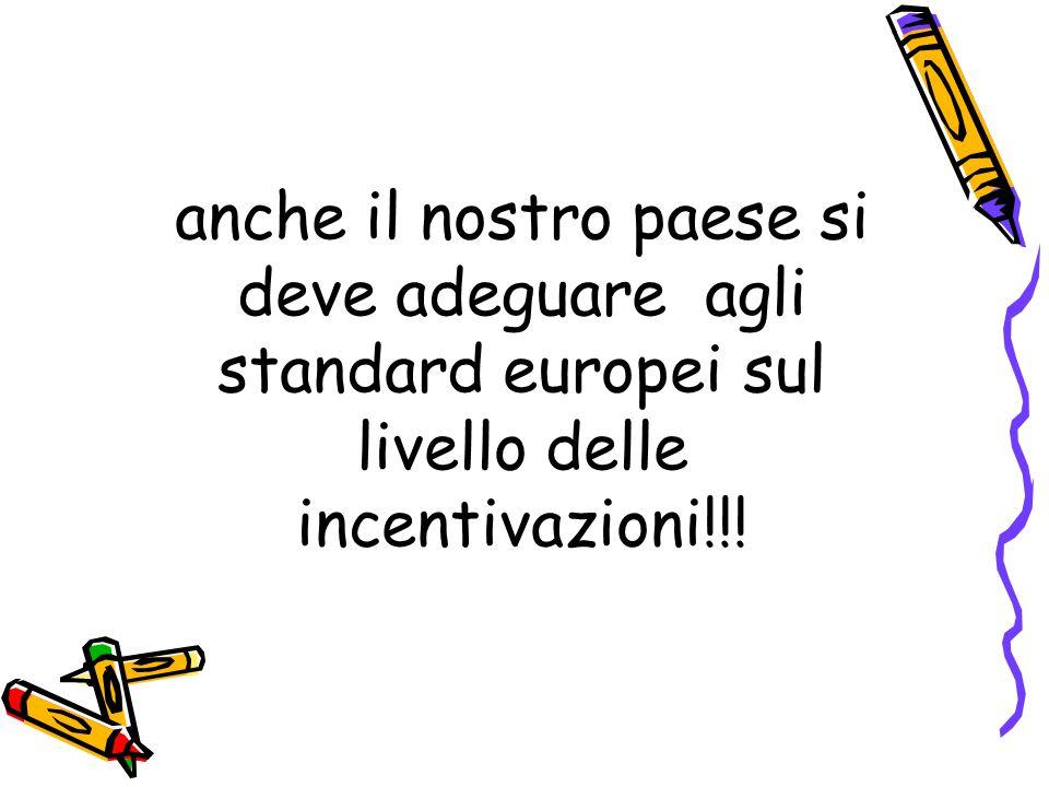 anche il nostro paese si deve adeguare agli standard europei sul livello delle incentivazioni!!!