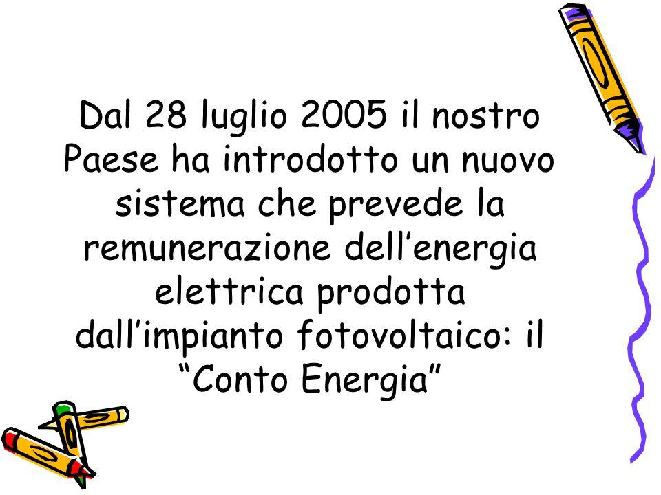 Dal 28 luglio 2005 il nostro Paese ha introdotto un nuovo sistema che prevede la remunerazione dell'energia elettrica prodotta dall'impianto fotovoltaico: il Conto Energia