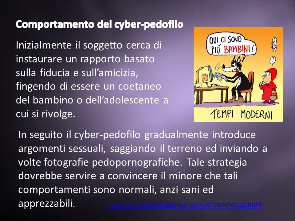 http://www.ioproteggoibambini.it/html/video.html Inizialmente il soggetto cerca di instaurare un rapporto basato sulla fiducia e sull'amicizia, fingendo di essere un coetaneo del bambino o dell'adolescente a cui si rivolge.