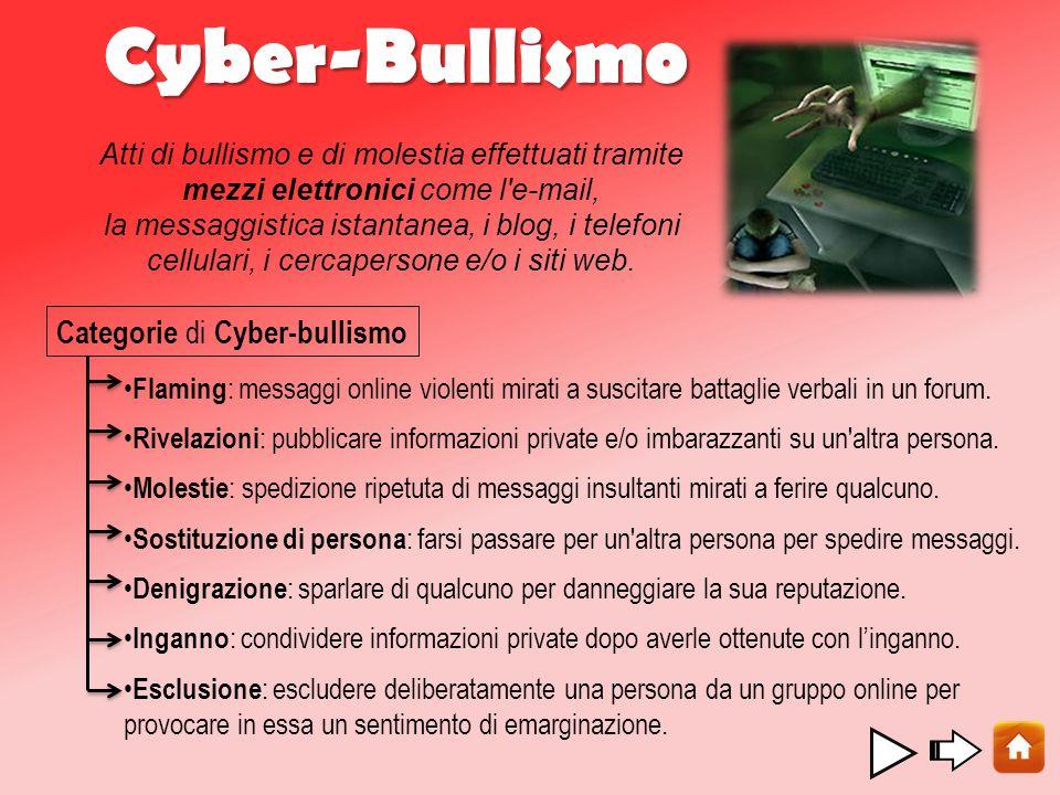 Cyber-Bullismo Sostituzione di persona : farsi passare per un altra persona per spedire messaggi.