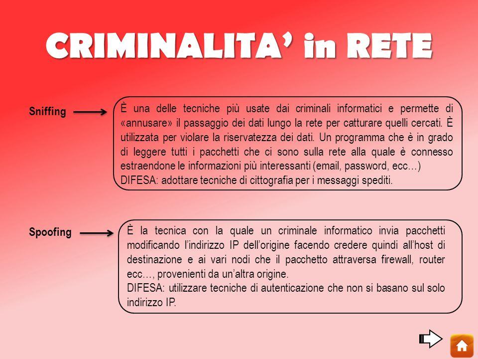 CRIMINALITA' in RETE Sniffing Spoofing È una delle tecniche più usate dai criminali informatici e permette di «annusare» il passaggio dei dati lungo la rete per catturare quelli cercati.