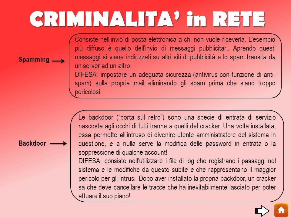 CRIMINALITA' in RETE Spamming Backdoor Consiste nell'invio di posta elettronica a chi non vuole riceverla.