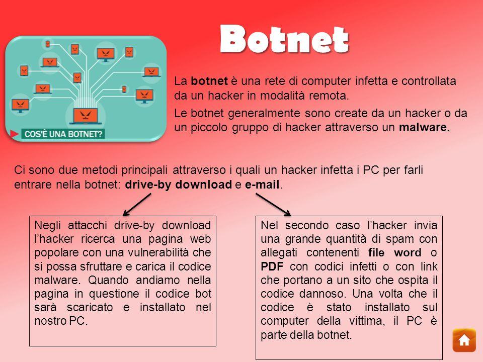 Botnet La botnet è una rete di computer infetta e controllata da un hacker in modalità remota.