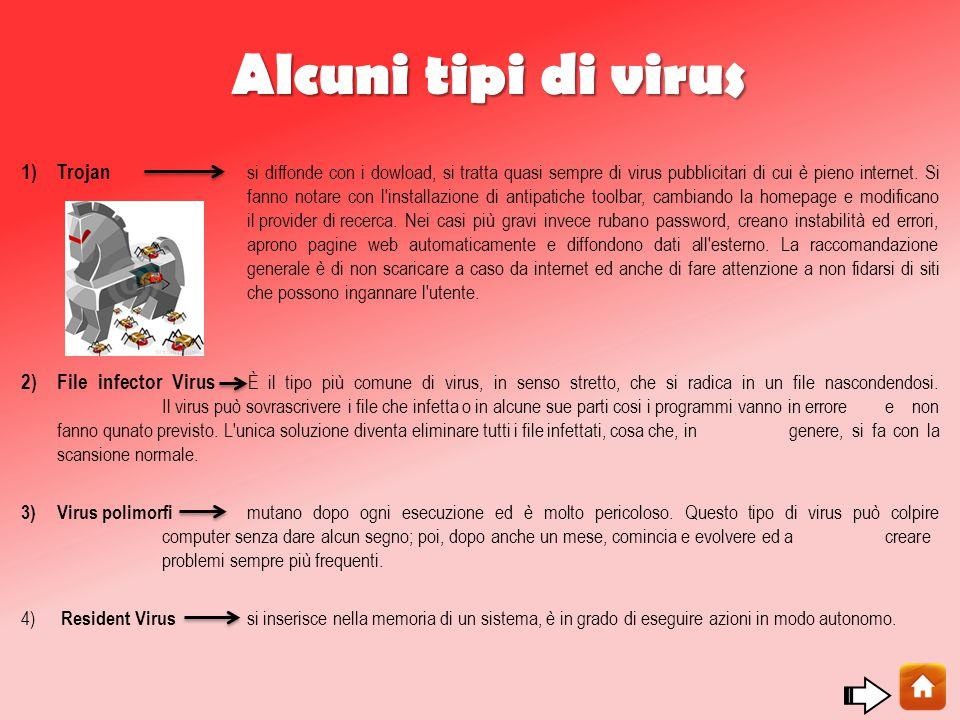 Alcuni tipi di virus 1) Trojan si diffonde con i dowload, si tratta quasi sempre di virus pubblicitari di cui è pieno internet.