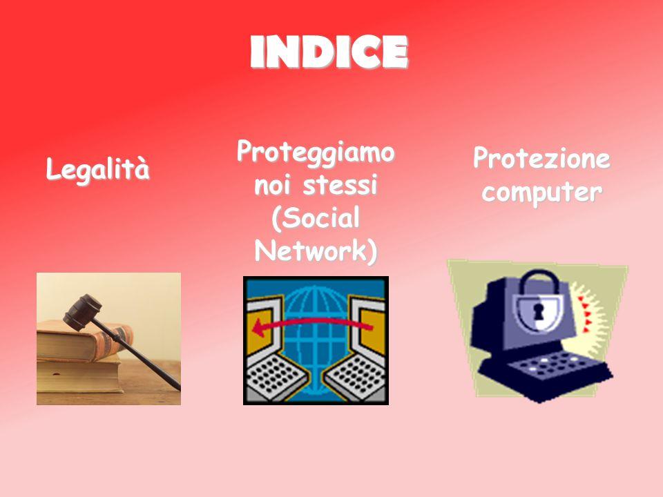 INDICE Legalità Proteggiamo noi stessi (Social Network) Protezione computer