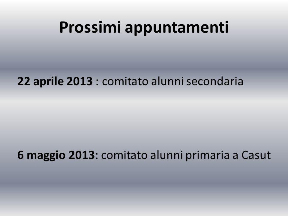 Prossimi appuntamenti 22 aprile 2013 : comitato alunni secondaria 6 maggio 2013: comitato alunni primaria a Casut