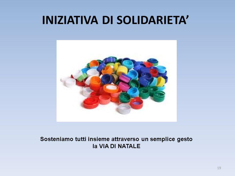 INIZIATIVA DI SOLIDARIETA' 19 Sosteniamo tutti insieme attraverso un semplice gesto la VIA DI NATALE