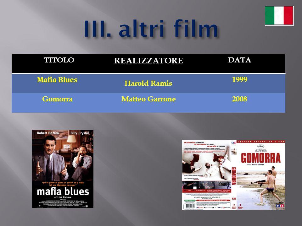 TITOLO REALIZZATORE DATA Mafia Blues Harold Ramis 1999 GomorraMatteo Garrone2008