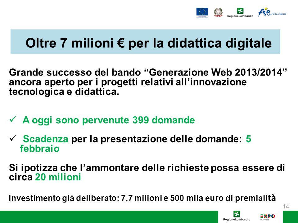 Oltre 7 milioni € per la didattica digitale Grande successo del bando Generazione Web 2013/2014 ancora aperto per i progetti relativi all'innovazione tecnologica e didattica.