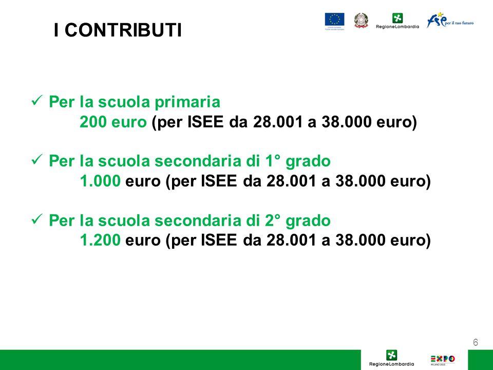 I CONTRIBUTI Per la scuola primaria 200 euro (per ISEE da 28.001 a 38.000 euro) Per la scuola secondaria di 1° grado 1.000 euro (per ISEE da 28.001 a 38.000 euro) Per la scuola secondaria di 2° grado 1.200 euro (per ISEE da 28.001 a 38.000 euro) 6