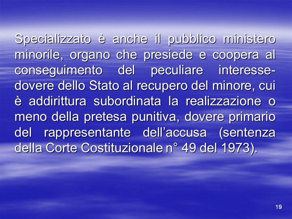 Specializzato è anche il pubblico ministero minorile, organo che presiede e coopera al conseguimento del peculiare interesse- dovere dello Stato al re