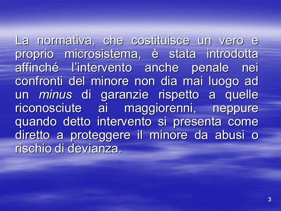 3 La normativa, che costituisce un vero e proprio microsistema, è stata introdotta affinché l'intervento anche penale nei confronti del minore non dia