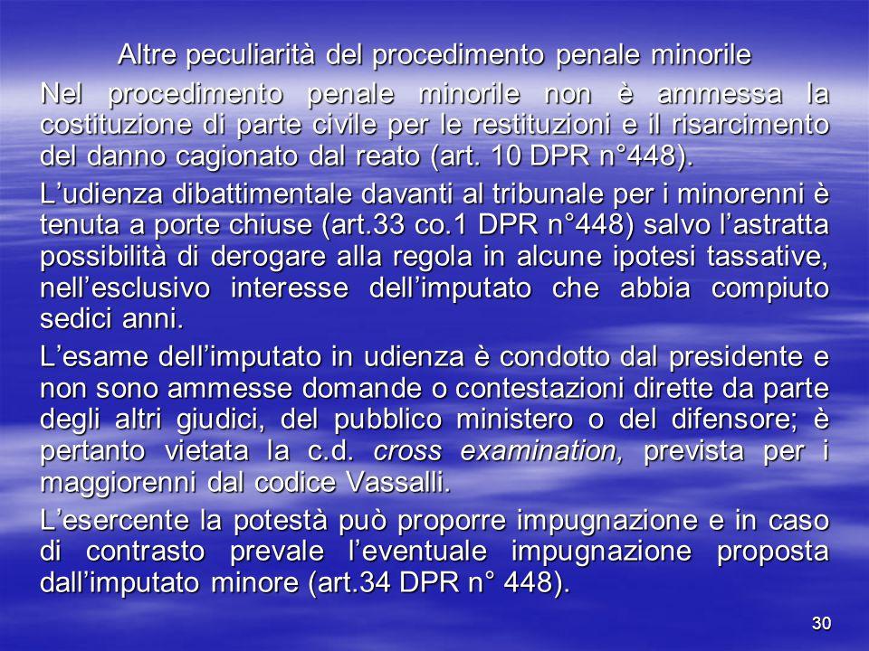 30 Altre peculiarità del procedimento penale minorile Nel procedimento penale minorile non è ammessa la costituzione di parte civile per le restituzio