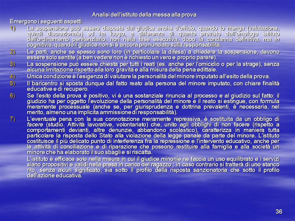 36 Analisi dell'istituto della messa alla prova Emergono i seguenti aspetti: 1)La sospensione può essere disposta dal giudice anche d'ufficio, quando