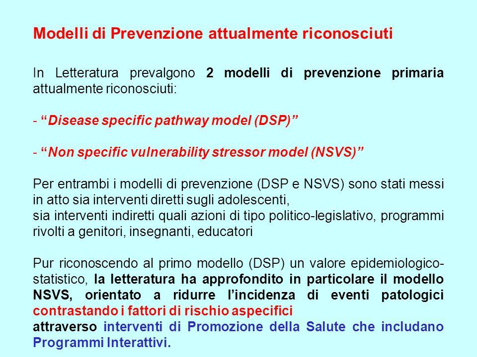 """Modelli di Prevenzione attualmente riconosciuti In Letteratura prevalgono 2 modelli di prevenzione primaria attualmente riconosciuti: - """"Disease speci"""