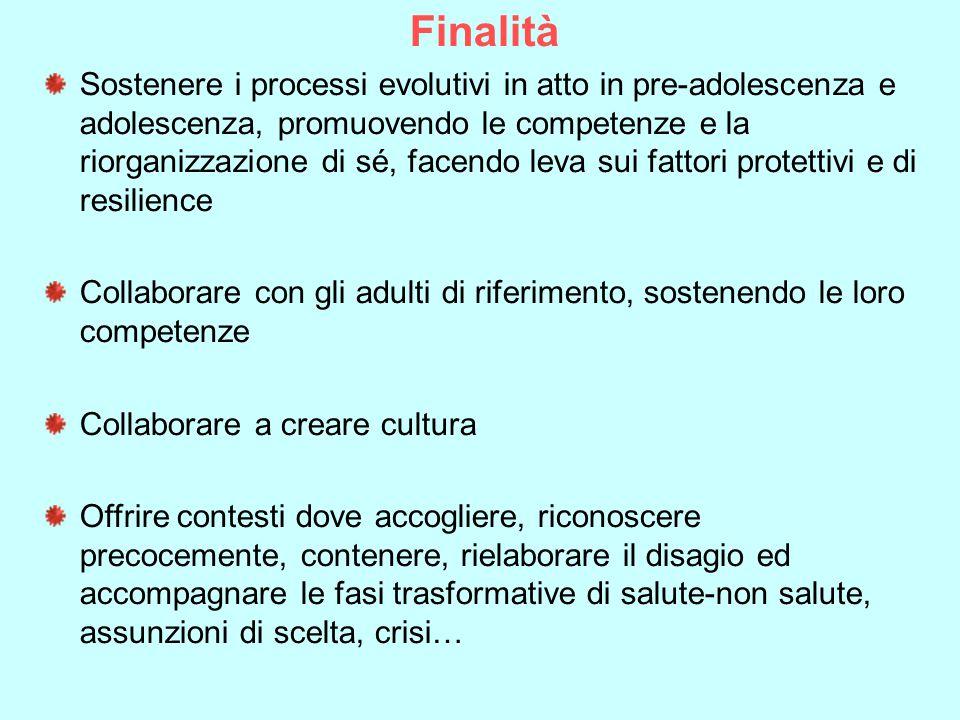 Finalità Sostenere i processi evolutivi in atto in pre-adolescenza e adolescenza, promuovendo le competenze e la riorganizzazione di sé, facendo leva