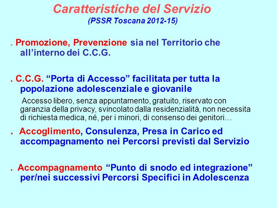 """Caratteristiche del Servizio (PSSR Toscana 2012-15). Promozione, Prevenzione sia nel Territorio che all'interno dei C.C.G.. C.C.G. """"Porta di Accesso"""""""