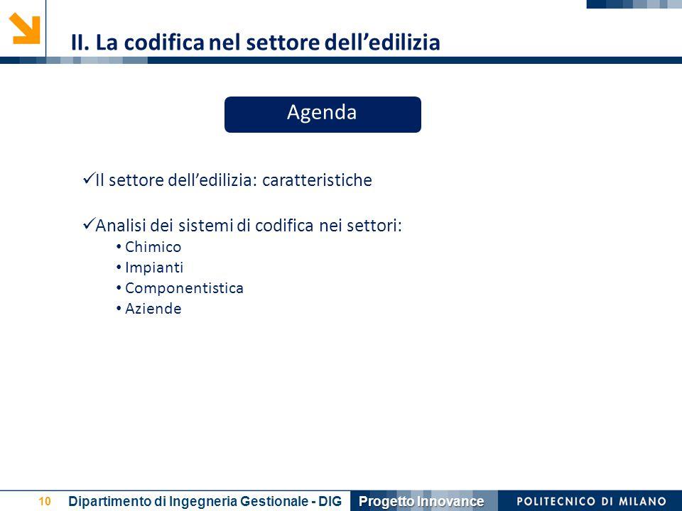 10 Il settore dell'edilizia: caratteristiche Analisi dei sistemi di codifica nei settori: Chimico Impianti Componentistica Aziende II. La codifica nel