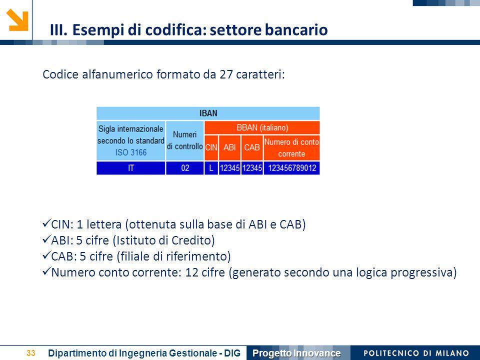 33 Codice alfanumerico formato da 27 caratteri: CIN: 1 lettera (ottenuta sulla base di ABI e CAB) ABI: 5 cifre (Istituto di Credito) CAB: 5 cifre (fil