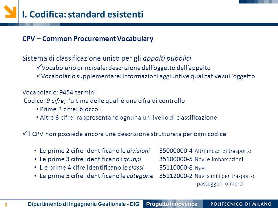 6 Progetto Innovance Dipartimento di Ingegneria Gestionale - DIG I. Codifica: standard esistenti CPV – Common Procurement Vocabulary Sistema di classi