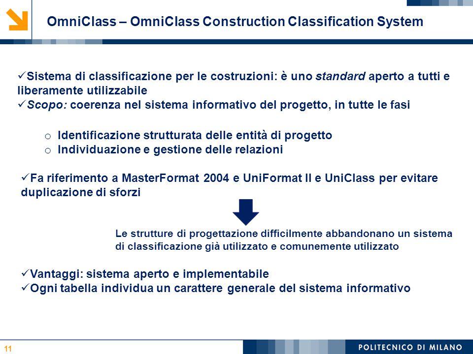 11 OmniClass – OmniClass Construction Classification System Sistema di classificazione per le costruzioni: è uno standard aperto a tutti e liberamente utilizzabile Scopo: coerenza nel sistema informativo del progetto, in tutte le fasi o Identificazione strutturata delle entità di progetto o Individuazione e gestione delle relazioni Fa riferimento a MasterFormat 2004 e UniFormat II e UniClass per evitare duplicazione di sforzi Le strutture di progettazione difficilmente abbandonano un sistema di classificazione già utilizzato e comunemente utilizzato Vantaggi: sistema aperto e implementabile Ogni tabella individua un carattere generale del sistema informativo