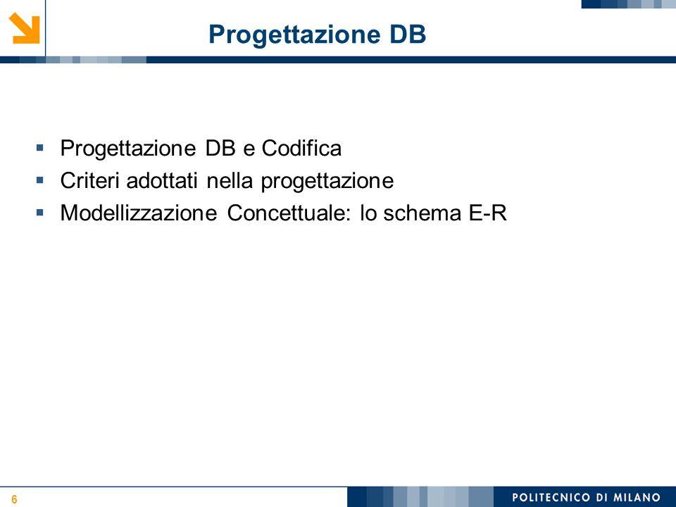 Progettazione DB 6  Progettazione DB e Codifica  Criteri adottati nella progettazione  Modellizzazione Concettuale: lo schema E-R