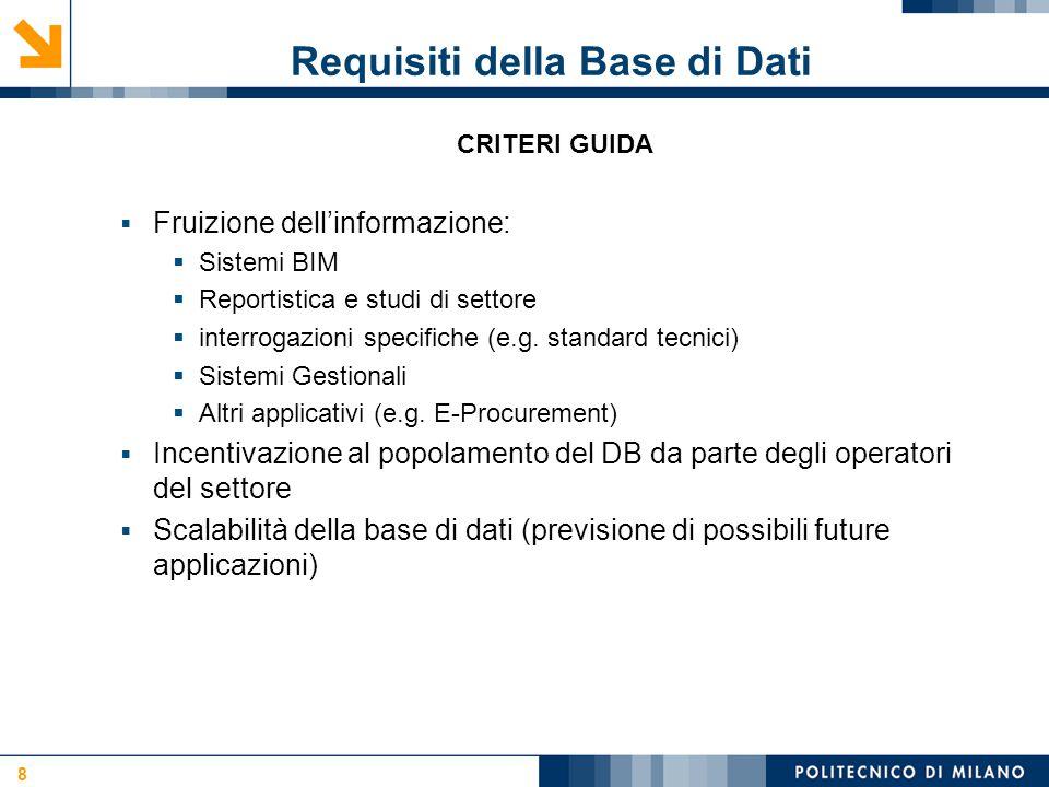 Requisiti della Base di Dati 8 CRITERI GUIDA  Fruizione dell'informazione:  Sistemi BIM  Reportistica e studi di settore  interrogazioni specifiche (e.g.