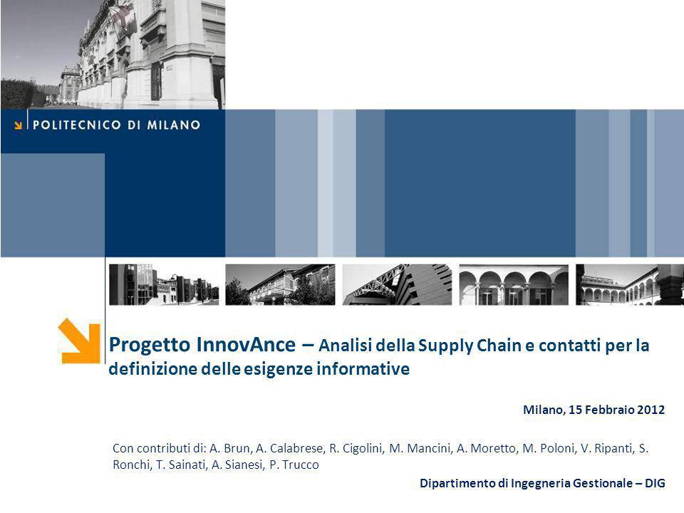 Progetto InnovAnce – Analisi della Supply Chain e contatti per la definizione delle esigenze informative Milano, 15 Febbraio 2012 Con contributi di: A