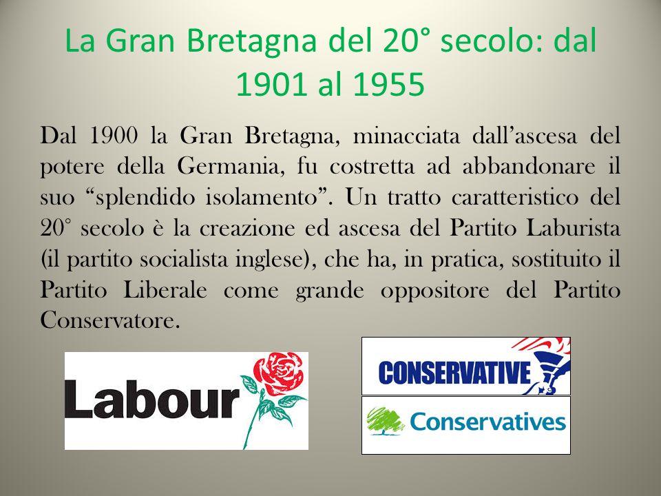 La Gran Bretagna del 20° secolo: dal 1901 al 1955 Dal 1900 la Gran Bretagna, minacciata dall'ascesa del potere della Germania, fu costretta ad abbandonare il suo splendido isolamento .