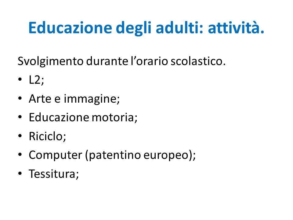Educazione degli adulti: attività. Svolgimento durante l'orario scolastico.