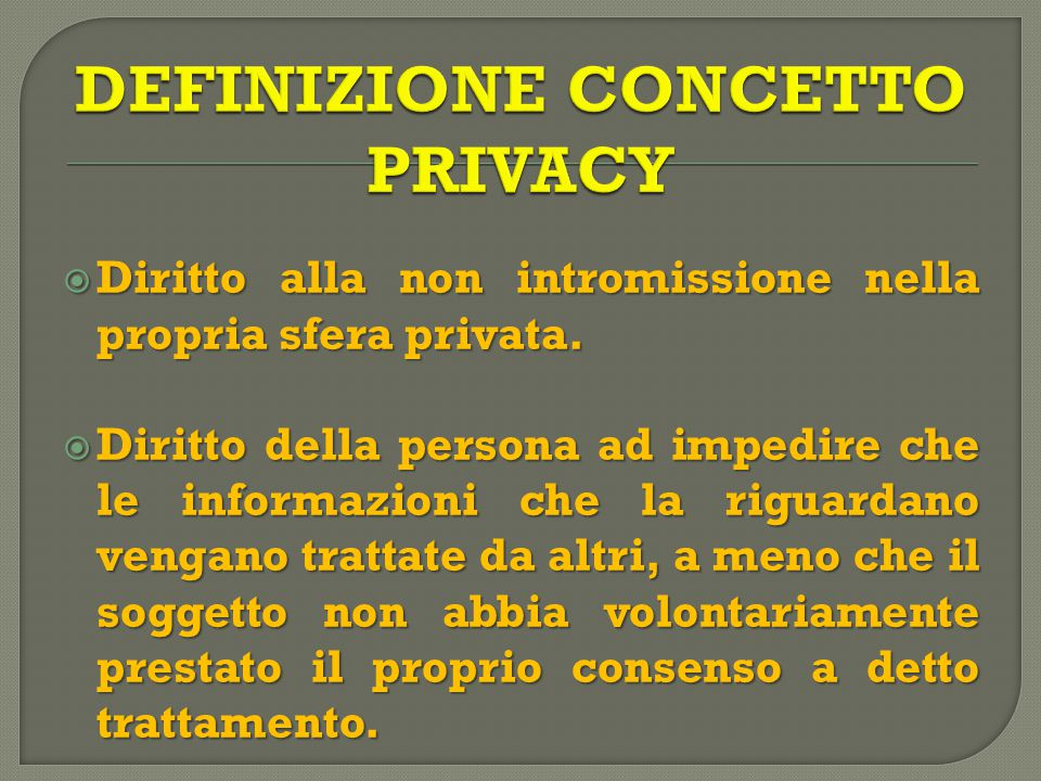  Diritto alla non intromissione nella propria sfera privata.