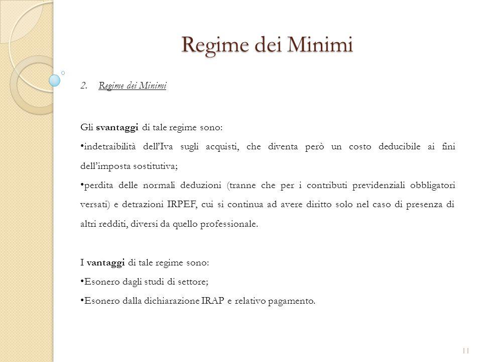 2.Regime dei Minimi Regime dei Minimi Gli svantaggi di tale regime sono: indetraibilità dell'Iva sugli acquisti, che diventa però un costo deducibile