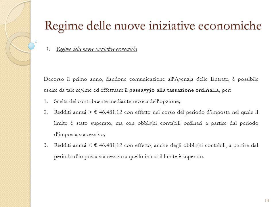 1.Regime delle nuove iniziative economiche Regime delle nuove iniziative economiche Decorso il primo anno, dandone comunicazione all'Agenzia delle Ent