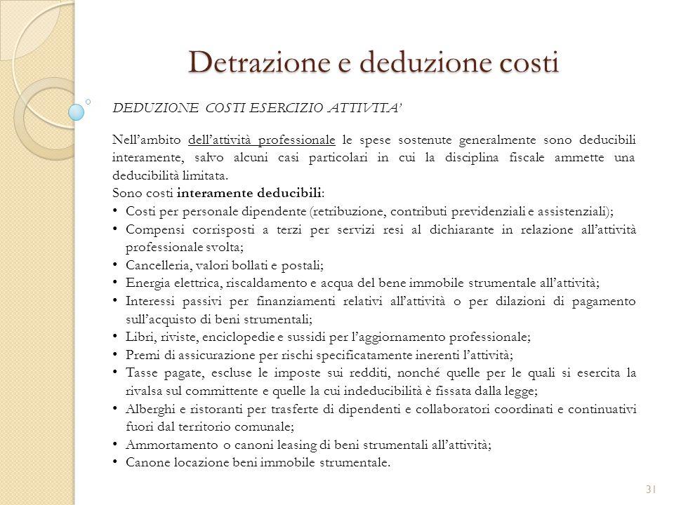 Detrazione e deduzione costi Nell'ambito dell'attività professionale le spese sostenute generalmente sono deducibili interamente, salvo alcuni casi pa