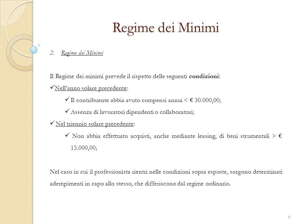 2.Regime dei Minimi Regime dei Minimi Il Regime dei minimi prevede il rispetto delle seguenti condizioni: Nell'anno solare precedente: Il contribuente