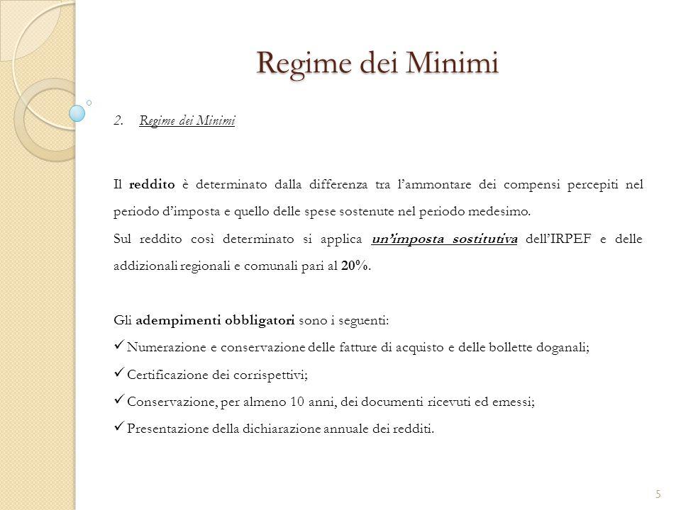 2.Regime dei Minimi Regime dei Minimi Il reddito è determinato dalla differenza tra l'ammontare dei compensi percepiti nel periodo d'imposta e quello