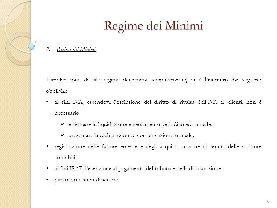 2.Regime dei Minimi Regime dei Minimi L'applicazione di tale regime determina semplificazioni, vi è l'esonero dai seguenti obblighi: ai fini IVA, esse