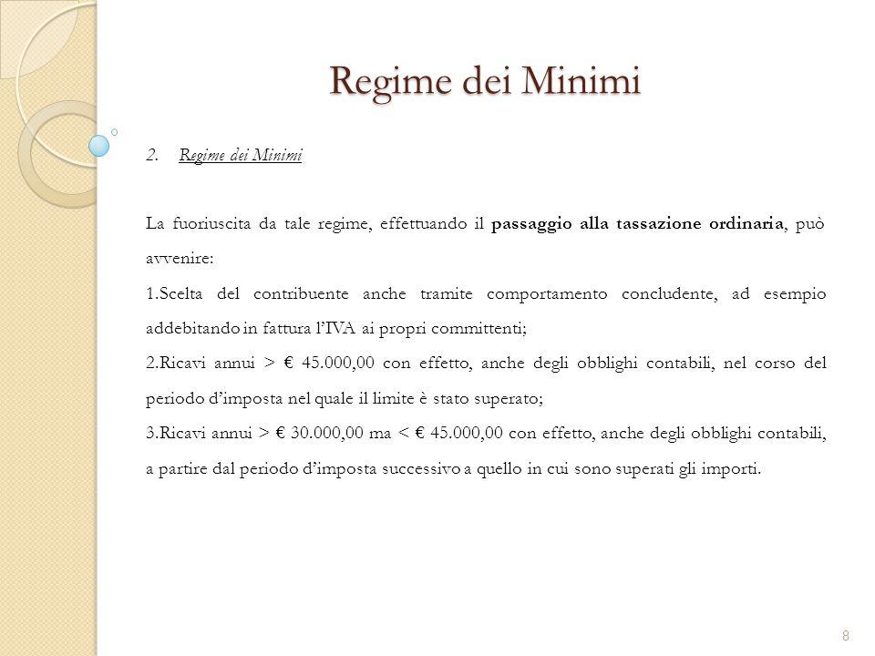 2.Regime dei Minimi Regime dei Minimi La fuoriuscita da tale regime, effettuando il passaggio alla tassazione ordinaria, può avvenire: 1.Scelta del co