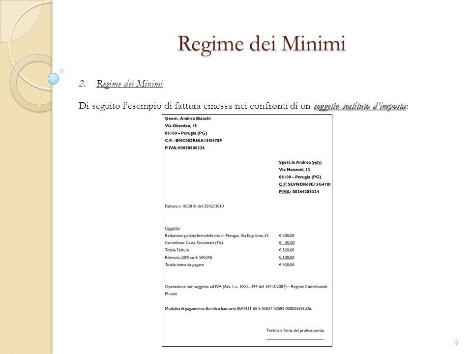 2.Regime dei Minimi Regime dei Minimi soggetto sostituto d'imposta Di seguito l'esempio di fattura emessa nei confronti di un soggetto sostituto d'imp
