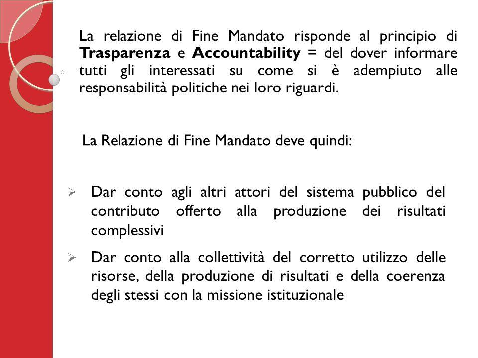 La relazione di Fine Mandato risponde al principio di Trasparenza e Accountability = del dover informare tutti gli interessati su come si è adempiuto