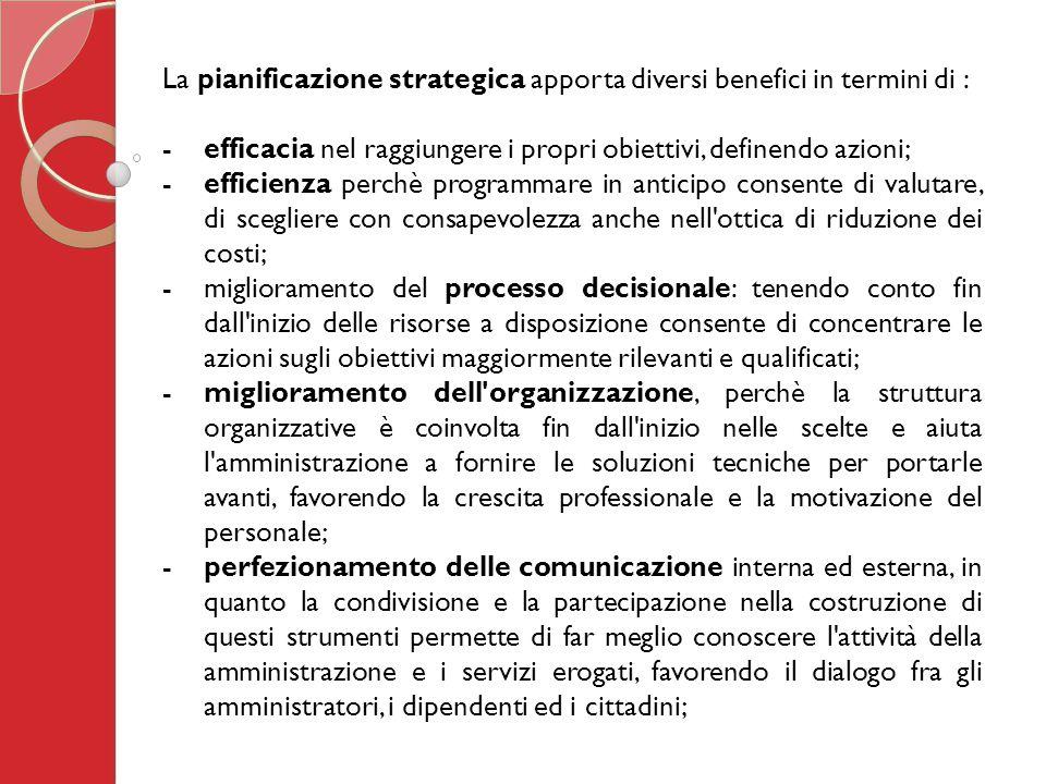 La pianificazione strategica apporta diversi benefici in termini di : - efficacia nel raggiungere i propri obiettivi, definendo azioni; -efficienza perchè programmare in anticipo consente di valutare, di scegliere con consapevolezza anche nell ottica di riduzione dei costi; -miglioramento del processo decisionale: tenendo conto fin dall inizio delle risorse a disposizione consente di concentrare le azioni sugli obiettivi maggiormente rilevanti e qualificati; -miglioramento dell organizzazione, perchè la struttura organizzative è coinvolta fin dall inizio nelle scelte e aiuta l amministrazione a fornire le soluzioni tecniche per portarle avanti, favorendo la crescita professionale e la motivazione del personale; - perfezionamento delle comunicazione interna ed esterna, in quanto la condivisione e la partecipazione nella costruzione di questi strumenti permette di far meglio conoscere l attività della amministrazione e i servizi erogati, favorendo il dialogo fra gli amministratori, i dipendenti ed i cittadini;