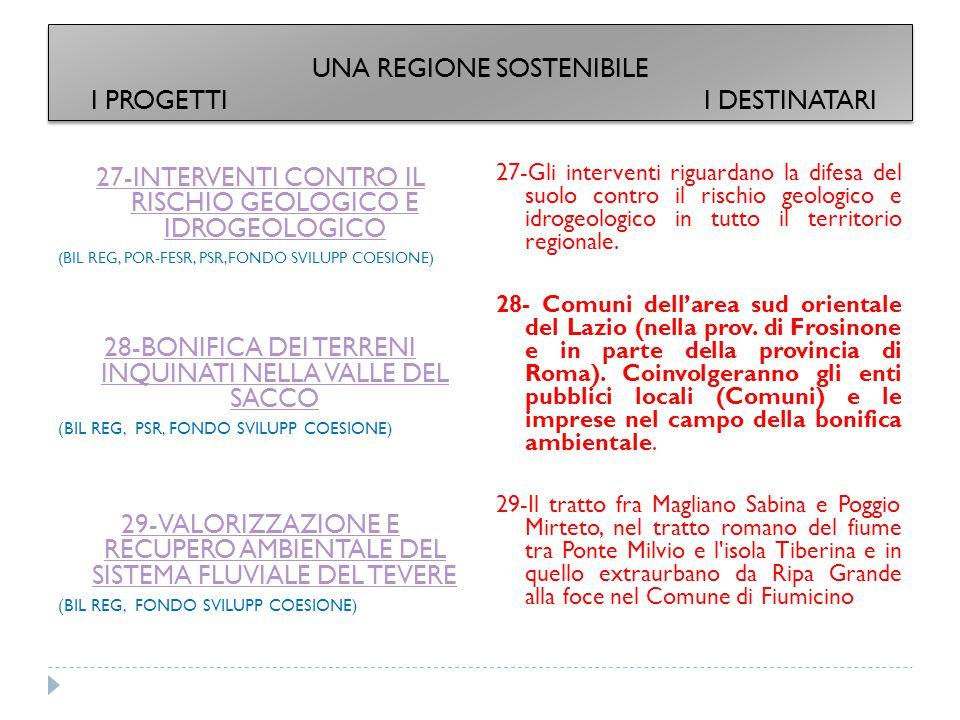 27-INTERVENTI CONTRO IL RISCHIO GEOLOGICO E IDROGEOLOGICO (BIL REG, POR-FESR, PSR,FONDO SVILUPP COESIONE) 28-BONIFICA DEI TERRENI INQUINATI NELLA VALLE DEL SACCO (BIL REG, PSR, FONDO SVILUPP COESIONE) 29-VALORIZZAZIONE E RECUPERO AMBIENTALE DEL SISTEMA FLUVIALE DEL TEVERE (BIL REG, FONDO SVILUPP COESIONE) 27-Gli interventi riguardano la difesa del suolo contro il rischio geologico e idrogeologico in tutto il territorio regionale.