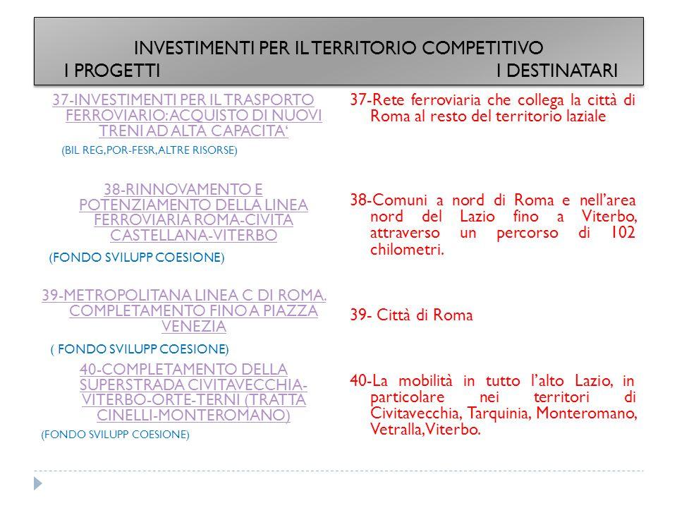 37-INVESTIMENTI PER IL TRASPORTO FERROVIARIO: ACQUISTO DI NUOVI TRENI AD ALTA CAPACITA' (BIL REG,POR-FESR, ALTRE RISORSE) 38-RINNOVAMENTO E POTENZIAMENTO DELLA LINEA FERROVIARIA ROMA-CIVITA CASTELLANA-VITERBO (FONDO SVILUPP COESIONE) 39-METROPOLITANA LINEA C DI ROMA.