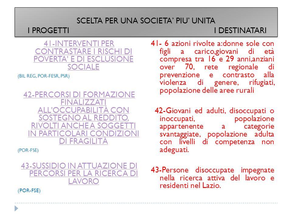 41-INTERVENTI PER CONTRASTARE I RISCHI DI POVERTA E DI ESCLUSIONE SOCIALE (BIL REG, POR-FESR, PSR) 42-PERCORSI DI FORMAZIONE FINALIZZATI ALL OCCUPABILITÀ CON SOSTEGNO AL REDDITO, RIVOLTI ANCHE A SOGGETTI IN PARTICOLARI CONDIZIONI DI FRAGILITÀ (POR-FSE) 43-SUSSIDIO IN ATTUAZIONE DI PERCORSI PER LA RICERCA DI LAVORO (POR-FSE) 41- 6 azioni rivolte a:donne sole con figli a carico,giovani di età compresa tra 16 e 29 anni,anziani over 70, rete regionale di prevenzione e contrasto alla violenza di genere, rifugiati, popolazione delle aree rurali 42-Giovani ed adulti, disoccupati o inoccupati, popolazione appartenente a categorie svantaggiate, popolazione adulta con livelli di competenza non adeguati.