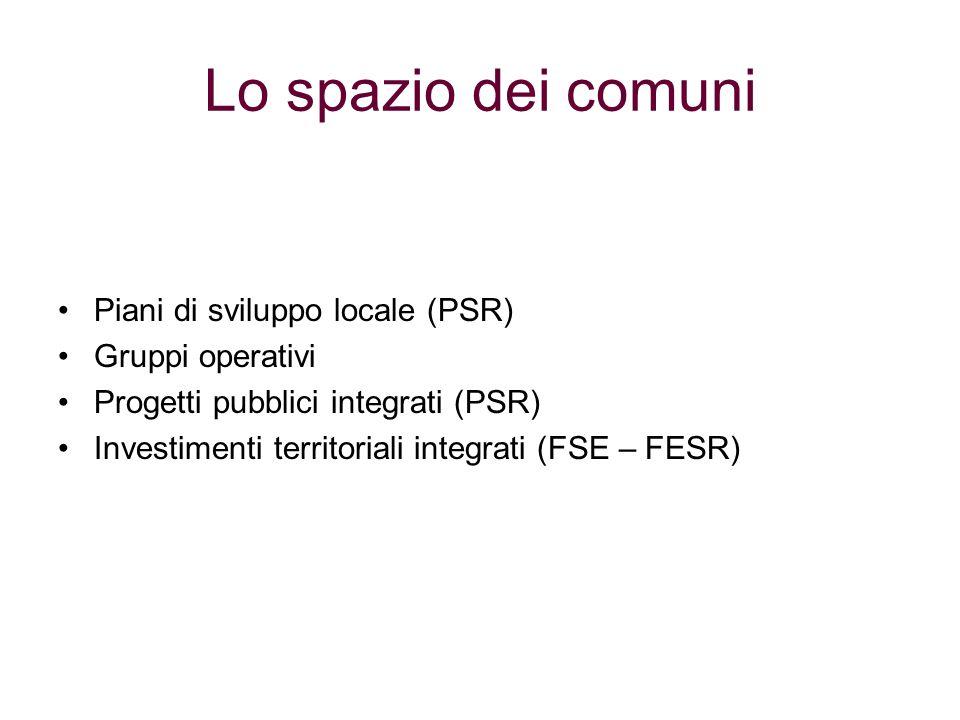 Lo spazio dei comuni Piani di sviluppo locale (PSR) Gruppi operativi Progetti pubblici integrati (PSR) Investimenti territoriali integrati (FSE – FESR