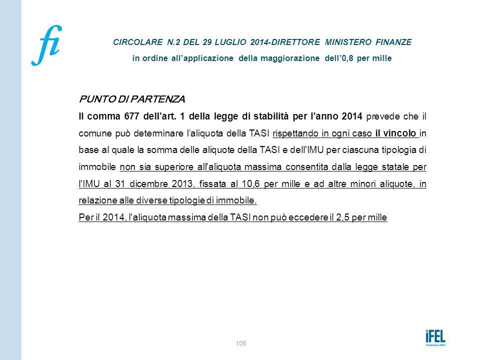 PUNTO DI PARTENZA Il comma 677 dell'art. 1 della legge di stabilità per l'anno 2014 prevede che il comune può determinare l'aliquota della TASI rispet