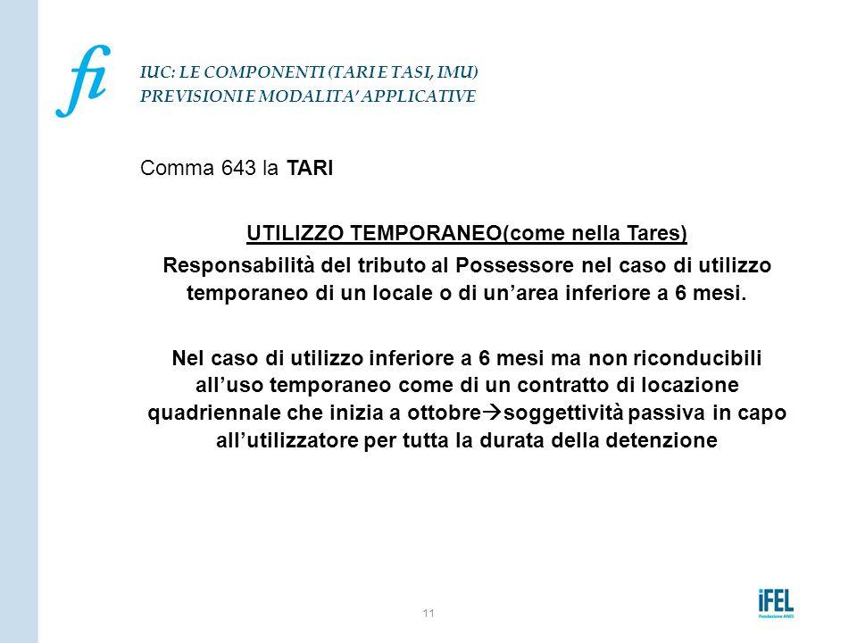 Comma 643 la TARI UTILIZZO TEMPORANEO(come nella Tares) Responsabilità del tributo al Possessore nel caso di utilizzo temporaneo di un locale o di un'
