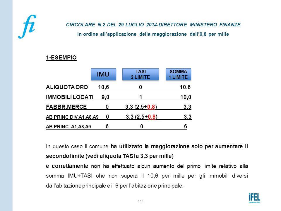 1-ESEMPIO ALIQUOTA ORD 10,6 0 10,6 IMMOBILI LOCATI 9,0 1 10,0 FABBR.MERCE 0 3,3 (2,5+0,8) 3,3 AB PRINC DIV.A1,A8,A9 0 3,3 (2,5+0,8) 3,3 AB PRINC A1,A8