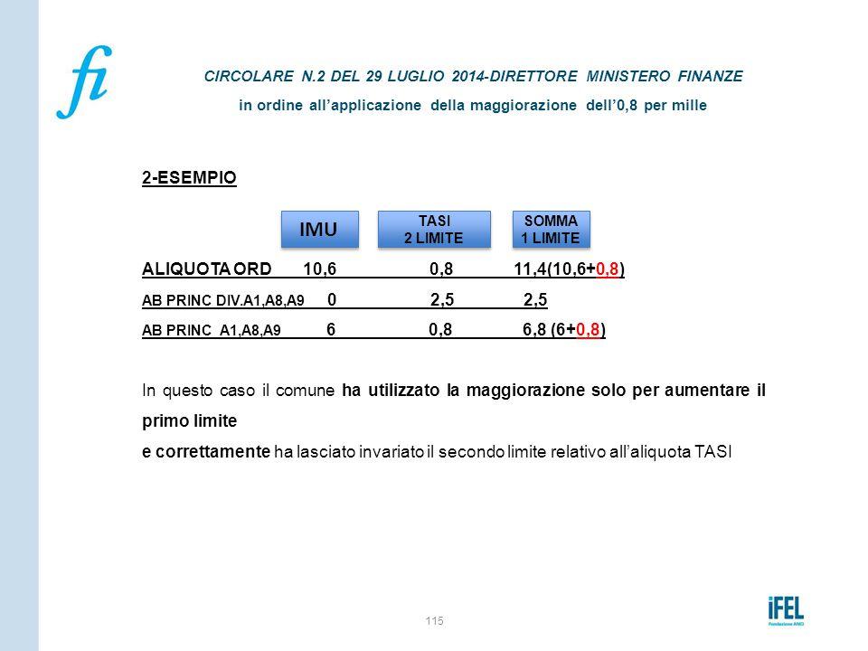 2-ESEMPIO ALIQUOTA ORD 10,6 0,8 11,4(10,6+0,8) AB PRINC DIV.A1,A8,A9 0 2,5 2,5 AB PRINC A1,A8,A9 6 0,8 6,8 (6+0,8) In questo caso il comune ha utilizz