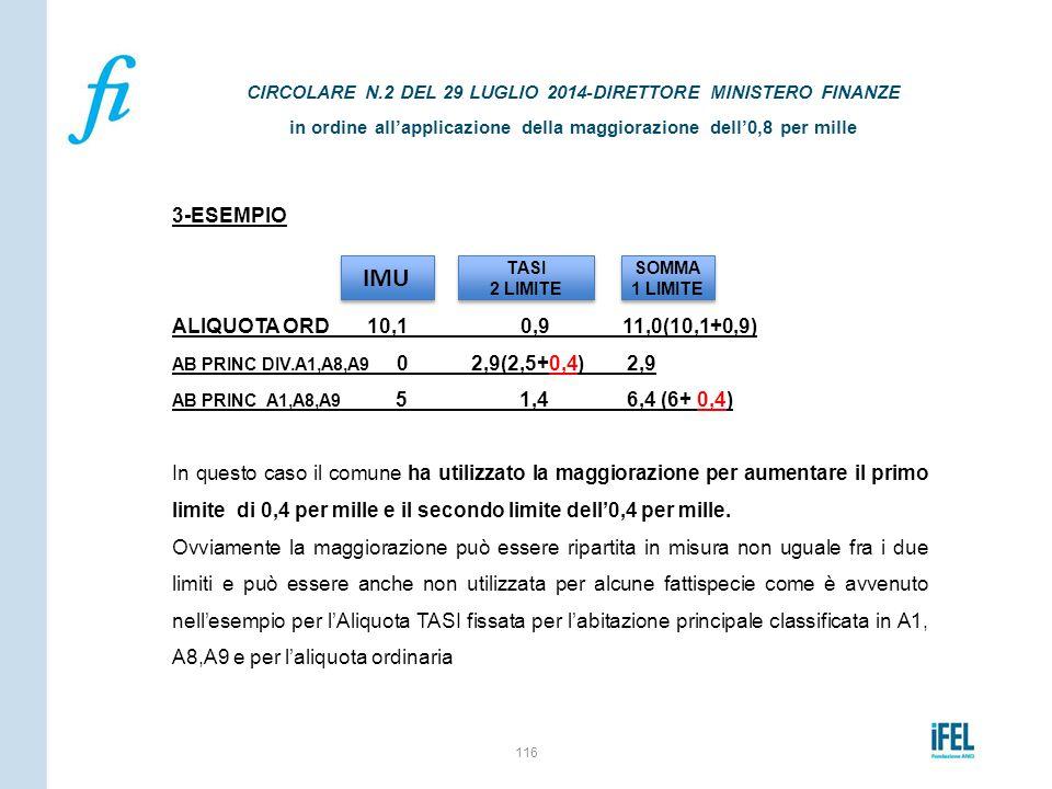 3-ESEMPIO ALIQUOTA ORD 10,1 0,9 11,0(10,1+0,9) AB PRINC DIV.A1,A8,A9 0 2,9(2,5+0,4) 2,9 AB PRINC A1,A8,A9 5 1,4 6,4 (6+ 0,4) In questo caso il comune